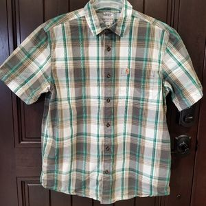 Carhartt Green Plaid Relaxed Fit Large Men Shirt
